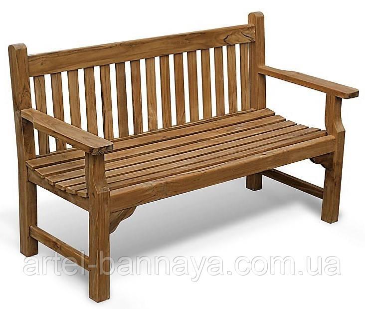 Лавочка скамья со спинкой 1540 х 670 мм. Деревянная лавка в Украине от производителя Garden park bench 11