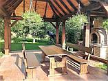 Садовая мебель из массива дерева 2000х800 от производителя для дачи, пабов, комплект Furniture set - 10, фото 4
