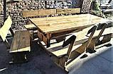 Садовая мебель из массива дерева 2000х800 от производителя для дачи, пабов, комплект Furniture set - 10, фото 5