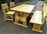 Садовая мебель из массива дерева 2000х800 от производителя для дачи, пабов, комплект Furniture set - 10, фото 7