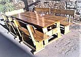 Садовая мебель из массива дерева 2000х800 от производителя для дачи, пабов, комплект Furniture set - 10, фото 8