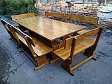Садовая мебель из массива дерева 2000х800 от производителя для дачи, пабов, комплект Furniture set - 10, фото 9