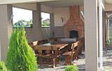 Садовая мебель из массива дерева  2500х1200 от производителя для дачи, пабов, комплект Furniture set - 18, фото 3