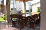 Садовая мебель из массива дерева  2500х1200 от производителя для дачи, пабов, комплект Furniture set - 18, фото 4