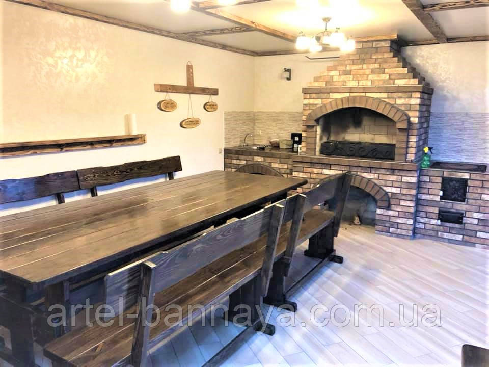 Садовая мебель из массива дерева 3000х1200 от производителя для дачи, ресторанов, комплект Furniture set - 22
