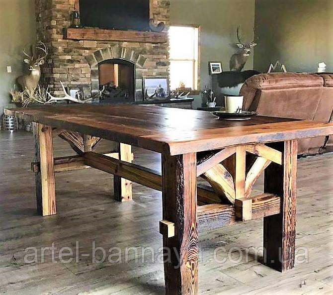 Садовая мебель 1900х900 из массива дерева от производителя для дачи, кафе, комплект Farmhouse Hand Made - 02