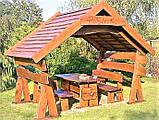Беседка из бруса шестигранная деревянная 5 м диагональ, фото 2