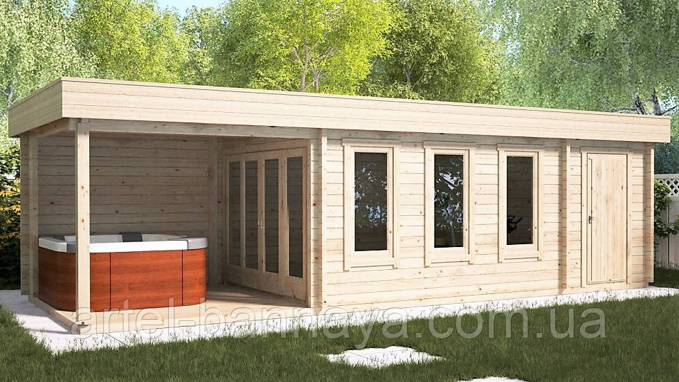 Беседка деревянная из профилированного бруса с закрытой комнатой  9х3 м. низкая цена от производителя