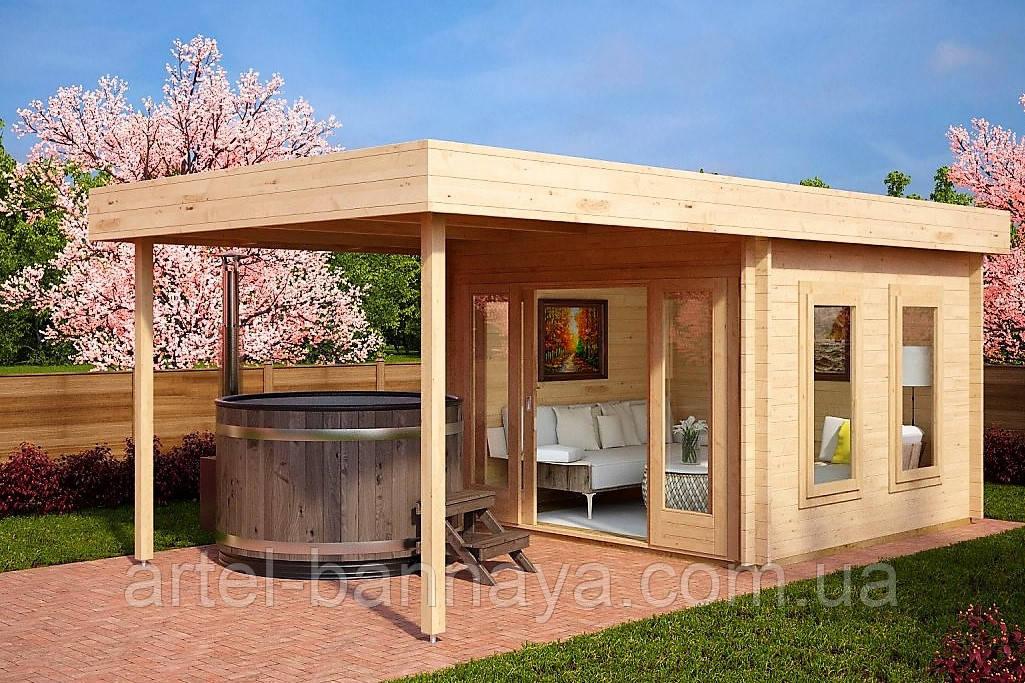 Беседка деревянная из профилированного бруса с закрытой комнатой 6.2х3 м. низкая цена от производителя
