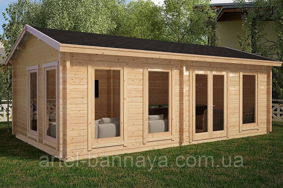 Беседка деревянная из профилированного бруса с закрытой комнатой  7х4 м. низкая цена от производителя