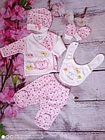 Комплект с вышивкой  для новорожденных из 5 предметов для девочек