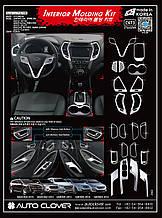 Хром накладки на панель Hyundai Santa Fe 2012-2017  (Autoclover/Корея/С673)