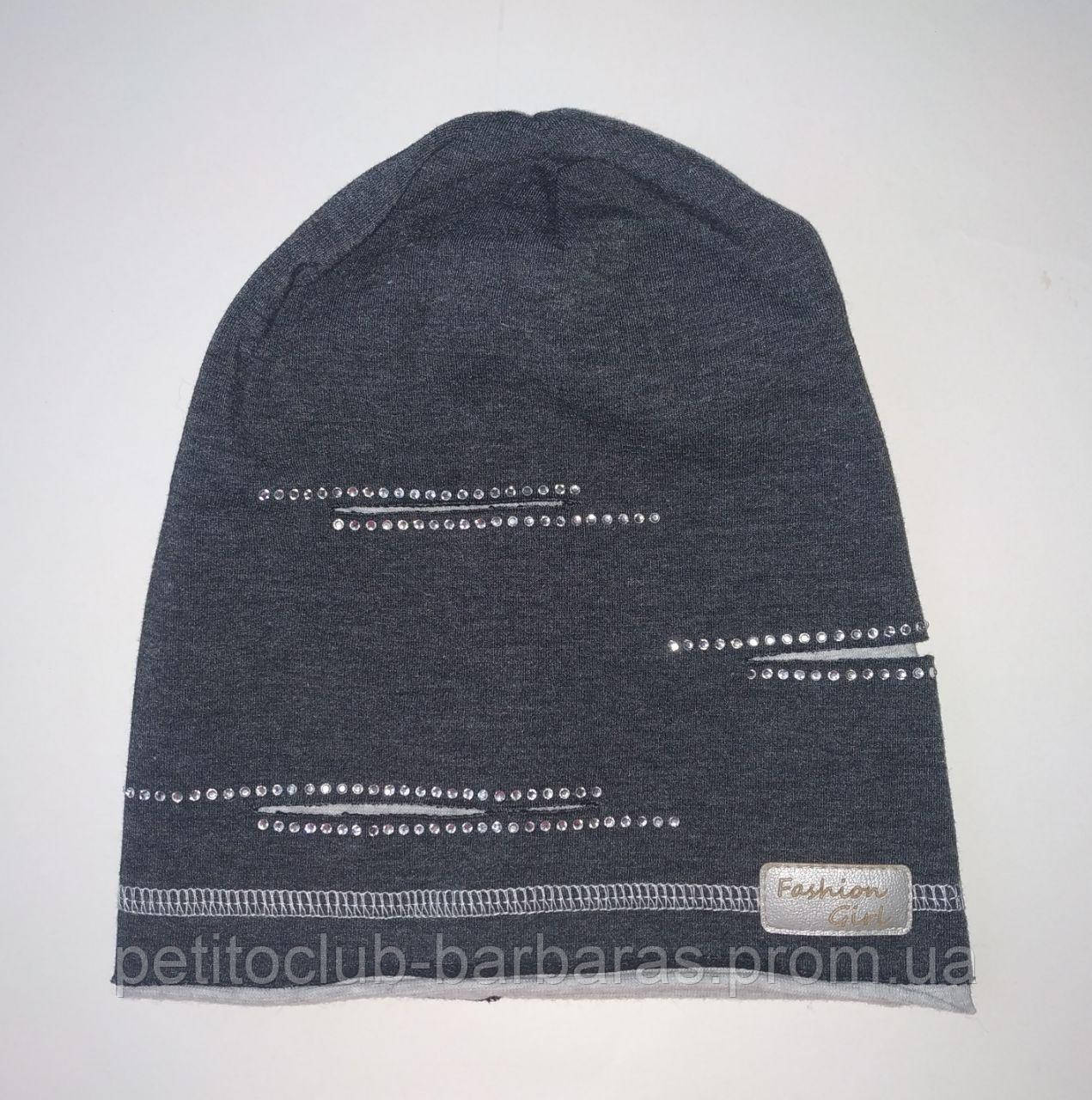 Демисезонная хлопковая шапка для девочки Fashion Girl темно-серая (AJS,Польша)