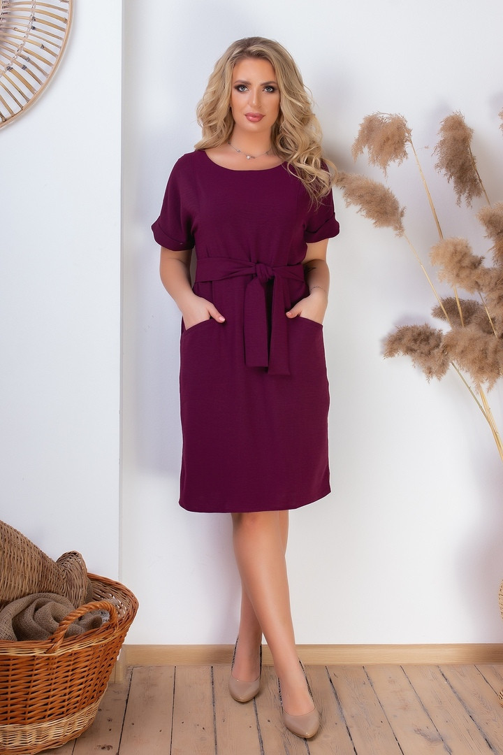 Женское платье под пояс с карманами 50-52, 54-56, 58-60