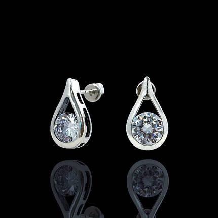 Серебряные серьги-пуссеты с камнем Капля, фото 2