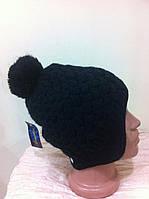 Стильная  шапка - ушанка с рисунком  двойная с помпоном цвет - черный