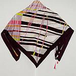 """Павлопосадский платок шелковый """"Движение"""" рис. 1365-6 крепдешин 89х89 см, фото 3"""
