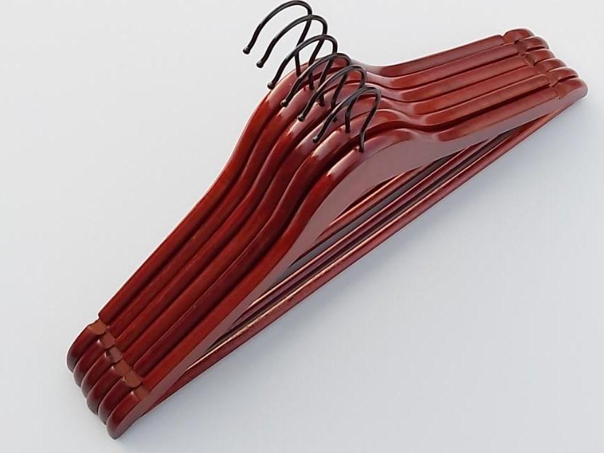 Плечики длиной 44,5 см деревянные коричневого цвета, 6 штук в упаковке