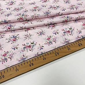 """Сатин """"цветы мелкие на розовом"""" 160см, фото 2"""
