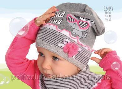 Демисезонная хлопковая шапка для девочки Find me серая (AJS,Польша)