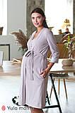 Комплект халат+ночная сорочка для беременных и кормящих мам, капучино, фото 3