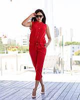 Комбинезон женский летний красного цвета лен