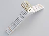 Плечики длиной 44 см. Крючок золото Деревянные белые в дизайне под старину, 5 штук в упаковке