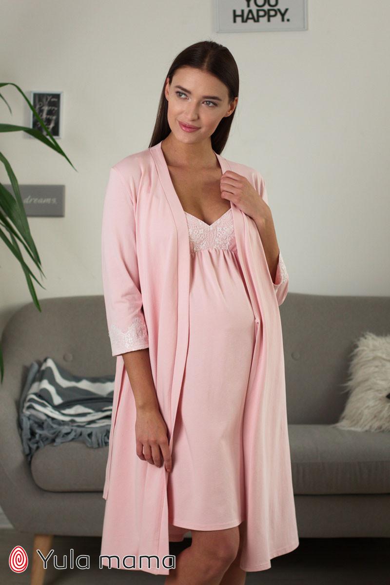 Нежный комплект халат + ночная сорочка для беременных и кормящих мам