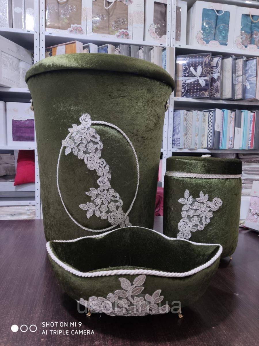 Набор корзин для ванной комнаты ART OF SULTANA 3 предмета Зеленый