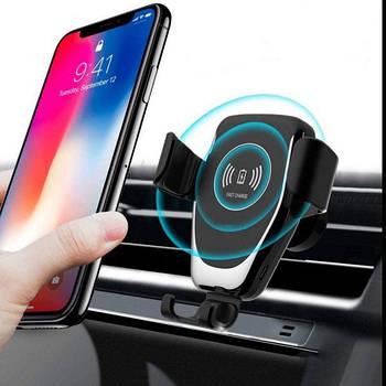 Автомобильный держатель с беспроводной зарядкой для смартфона 9V/2A , 5V/2A на торпеду/стекло