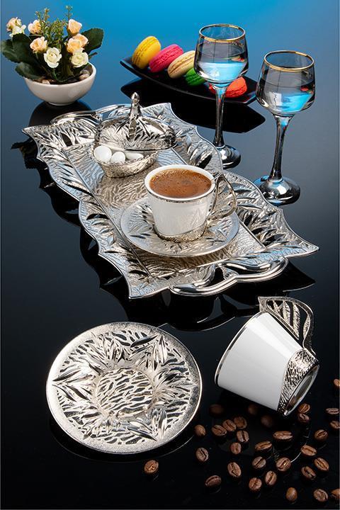 Набор чашек для кофе Серебристый лепесток Sena на 2 персоны