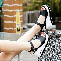 Женские элегантные, летние сандалии, босоножки черные на платформеWomen's elegant, summer sandals, black platf, фото 1