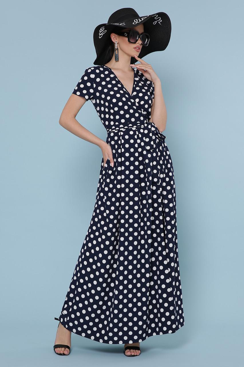 Длинное синее платье в белый горошек Шайни
