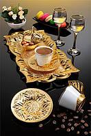 Набор чашек для кофе Золотистый лепесток Sena на 2 персоны, фото 1