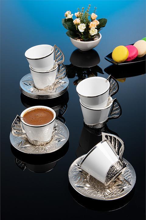 Набор чашек для кофе на 6 персон Серебристый лепесток Sena