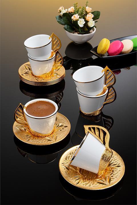 Набор чашек для кофе на 6 персон Золотистый лепесток Sena