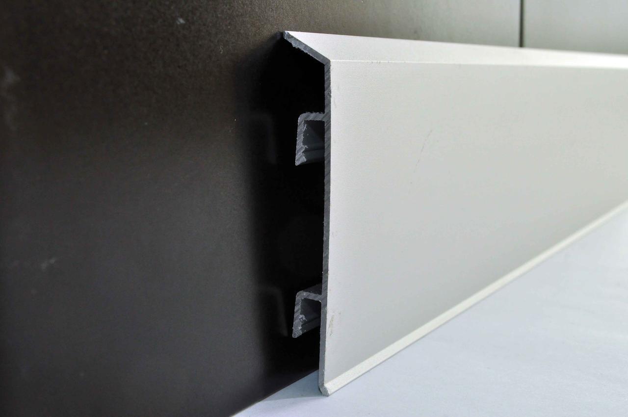 Плинтус алюминиевый дизайнерский с кабель-каналом Profilpas 70 мм анодированный 2000 мм 95/7