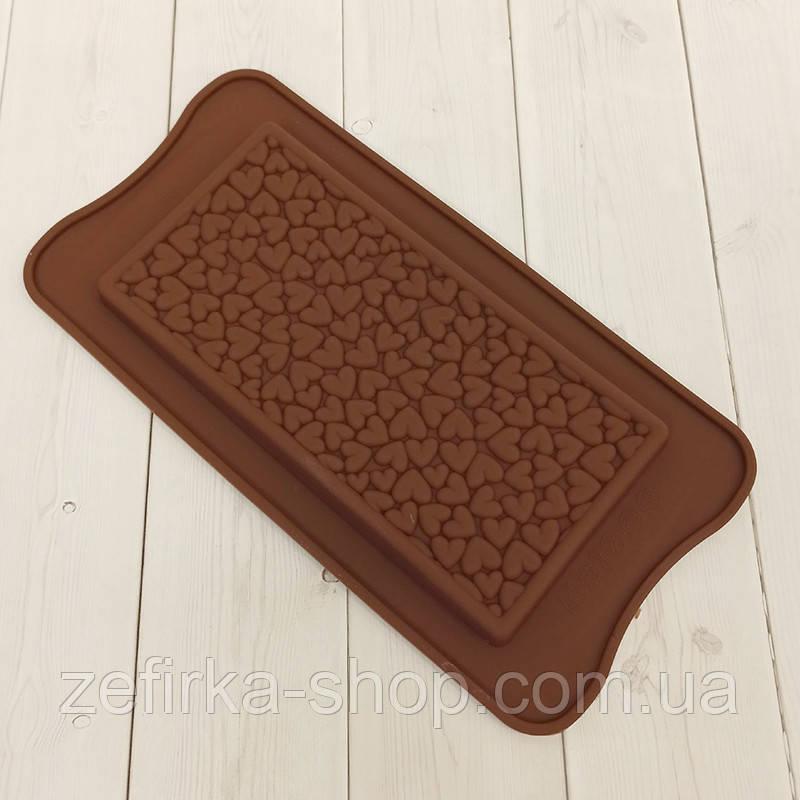 Силиконовая форма плитка шоколада Сердце
