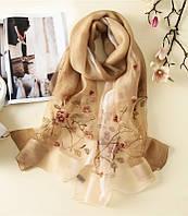Женский шарф бежевый шифон с вышивкой легкий