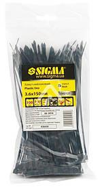 Хомут нейлон 2.5х150 мм, 100 шт, черный Sigma