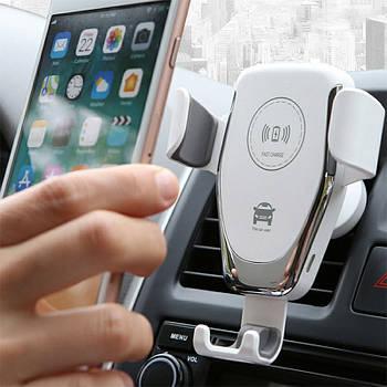 Автомобильный держатель с беспроводной зарядкой 9V/2A , 5V/2A на торпеду/стекло (белый)