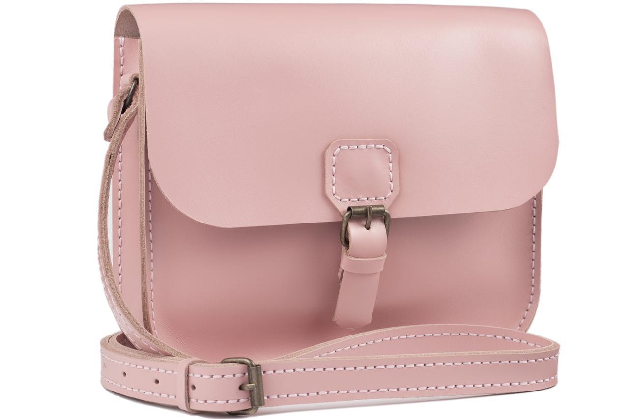 Женская кожаная сумка Handy розовая