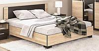 Вероника Кровать 140х200 с ламелями Мебель Сервис (203.6х146.4х85.2 см) Дуб самоа + Венге темный