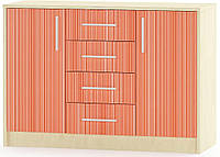 Симба Комод 2Д4Ш МЕБЕЛЬ СЕРВИС (106.2х38.5х74.9 см) Красный