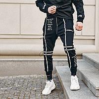 Спортивные штаны мужские Пушка Огонь Flare черные, фото 1