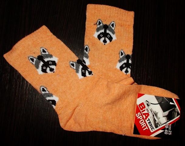 Носки теннисные  Еноты размер 39-40 персиковые