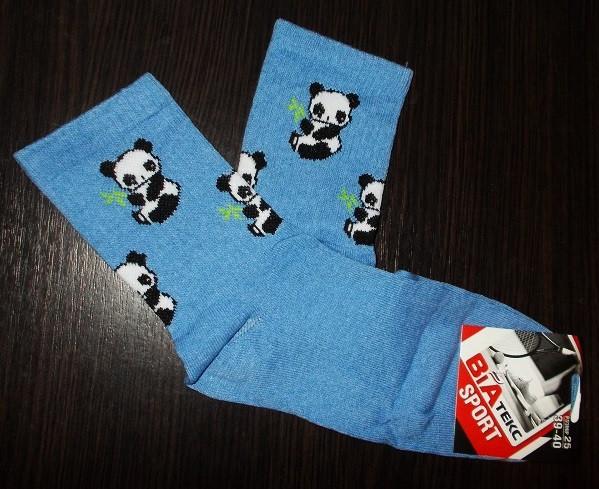 Носки теннисные  Панды размер 39-40 голубые