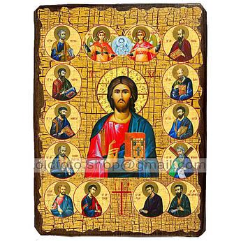 Икона Спаситель Господь Вседержитель с предстоящими ,икона на дереве 130х170 мм