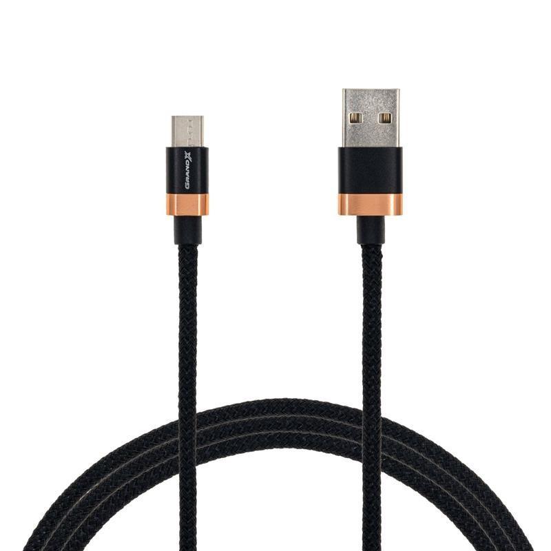 Кабель Grand-X FM-07 USB-microUSB, 3A, 1м, Copper/Black (FM07CB)