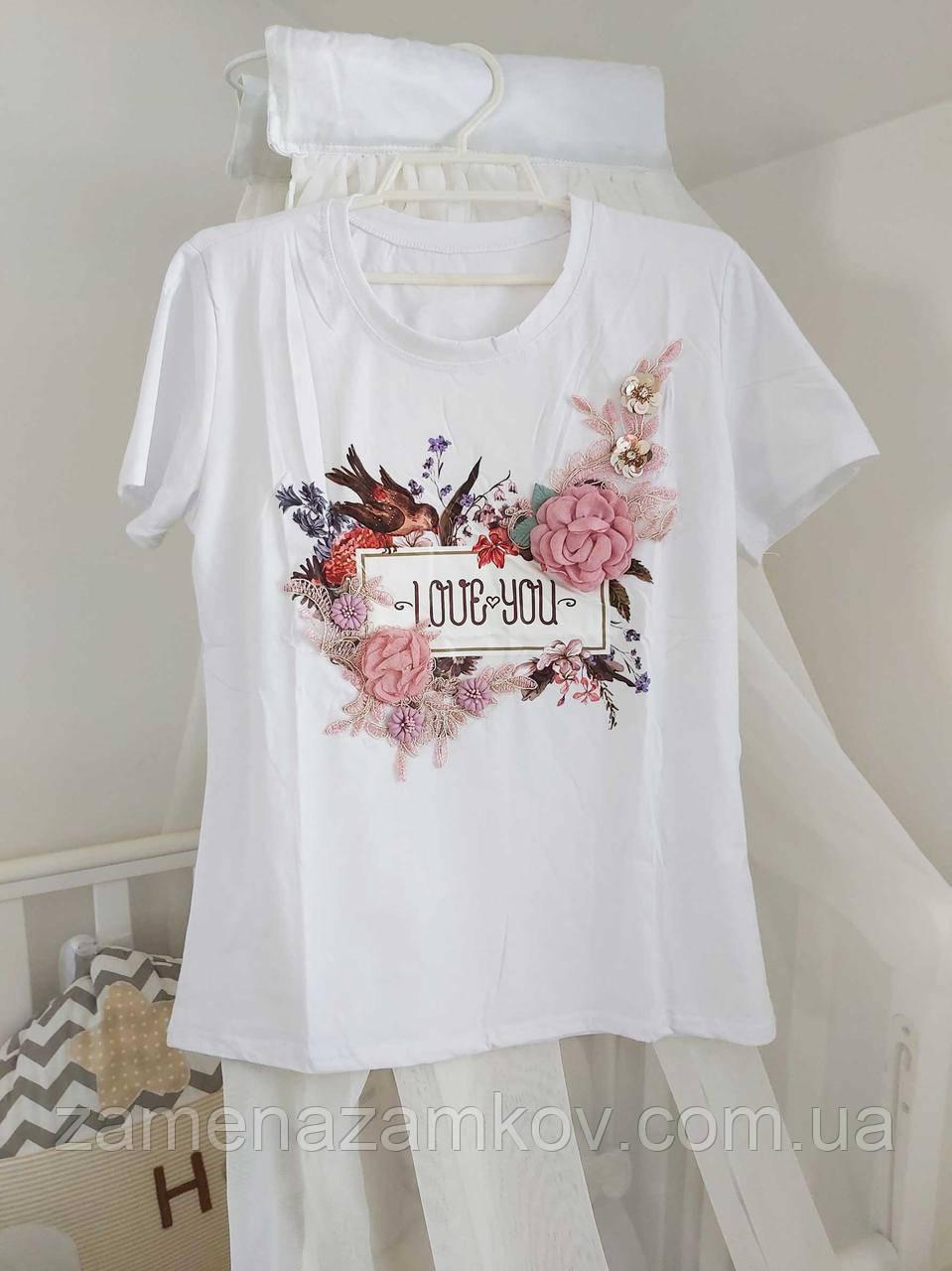 Красивая футболка разм 42-46 с украшением 3Д цветами стильная 2020